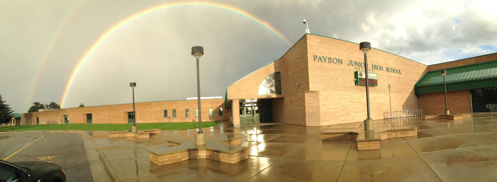 PJHS graced with a full rainbow.